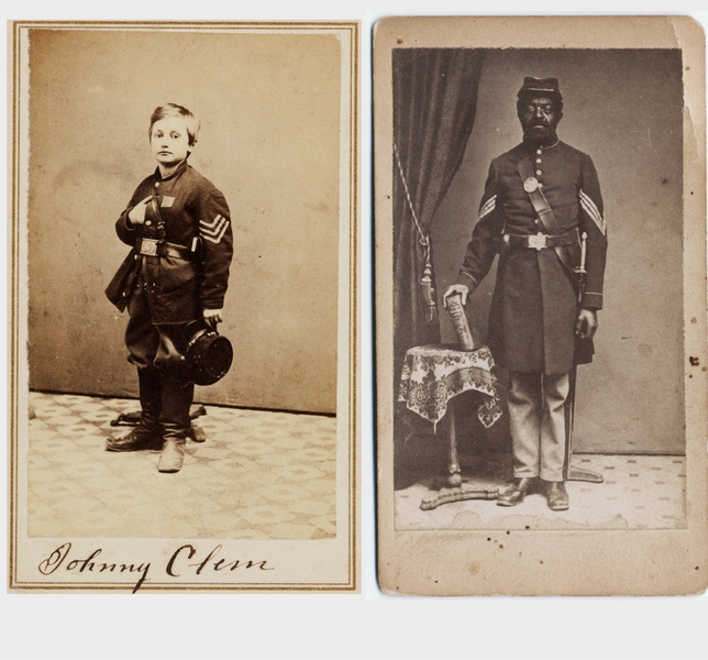 Left Civil War Union Signed Carte De Visite Of Drummer Boy Johnny Clem Right Black And White A Man Dressed In Army