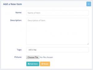 Add New Item Short Form