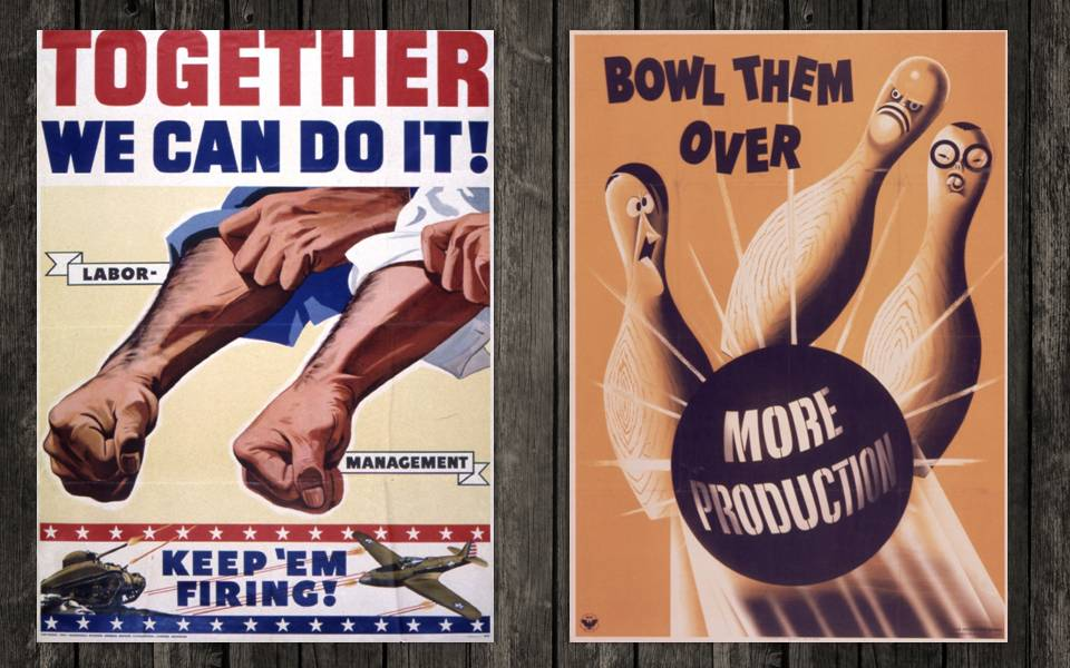 Left: A propaganda poster from 1942 encouraging unity between labor and management of GM. Right: Do you recognize those faces?