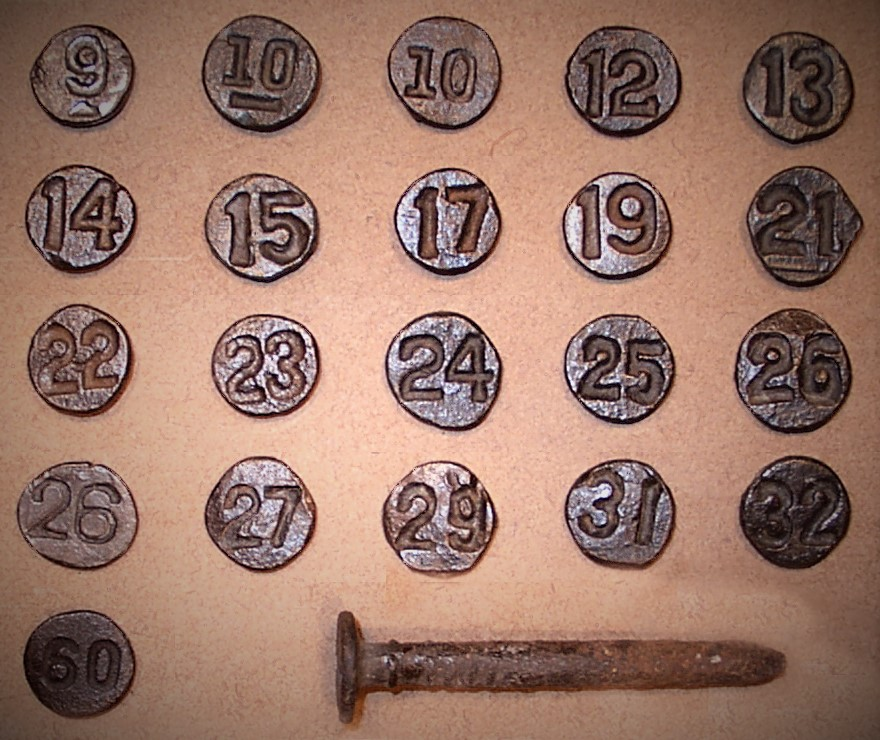 Date Nails with round head and indented numbers. Courtesy of douglascoulter.com