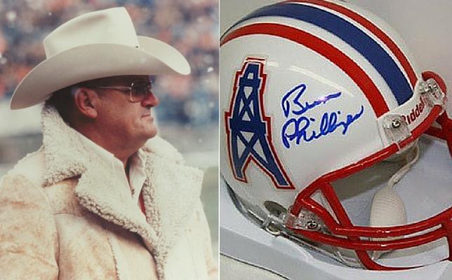 Coach Bum Phillips Autographed Oilers Helmet