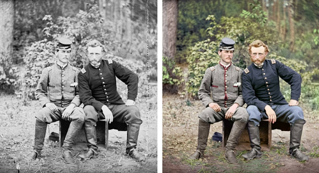 Capt. Custer of the 5th Cavalry is seen with Lt. Washington, a prisoner and former classmate.