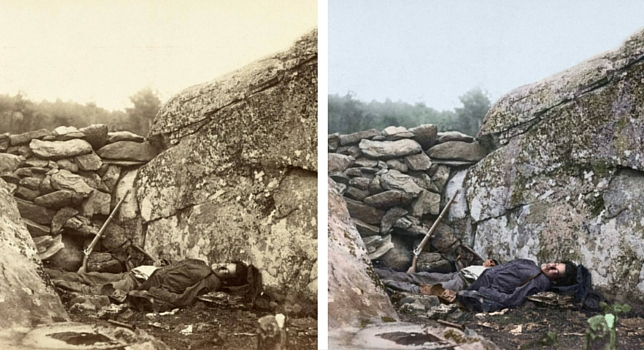 Dead Confederate sharpshooter at foot of Little Round Top on the battlefield at Gettysburg, July, 1863