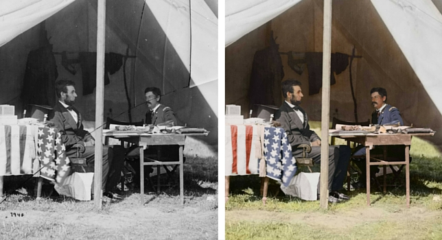 President Lincoln and Gen. George B. McClellan in the general's tent, Antietam, Md., Sept. - Oct. 1862.