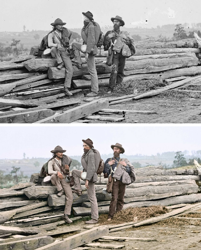 Three Confederate prisoners in Gettysburg, Penn., June-July, 1863.