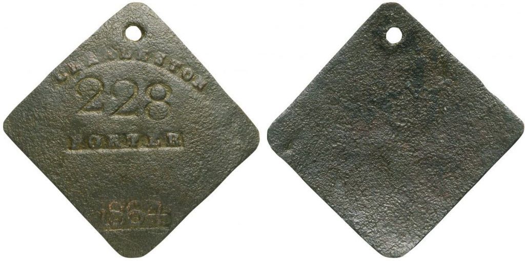 1864 Charleston Slave Badges