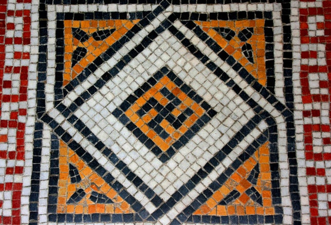 Swastika pattern displayed in the tile floor of the Garfield Monument in Cleveland Ohio
