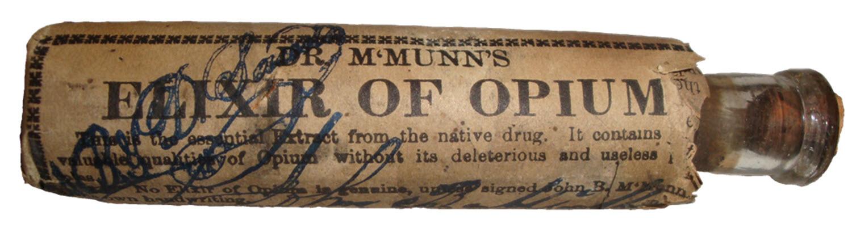 McMunn's Elixir of Opium packaged bottle.