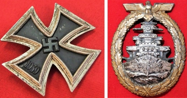 (Left) WW2 German Iron Cross 1st Class (Right) German Kreigsmarine High Seas Fleet Qualification Badge