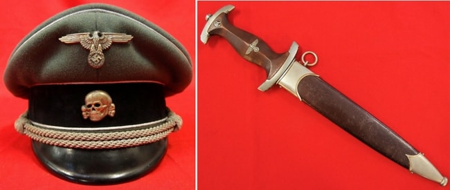 (Left) WW2 German Waffen-SS General Officer's Visor Cap (Right) NAZI GERMANY 1933 SA/Storm Troopers Dagger in Scabbard
