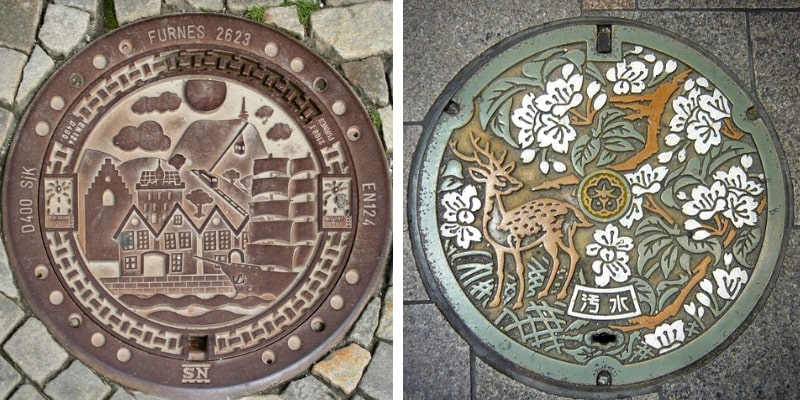 Manhole covers in Norway and Japan