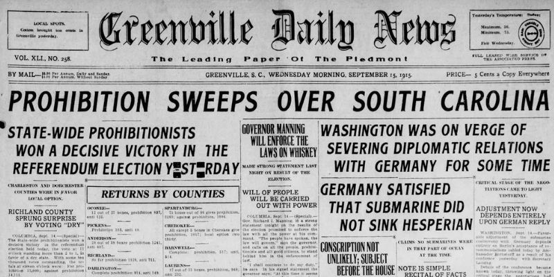 South Carolina Prohibition Newspaper